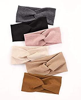 Huachi Turban Headbands for Women Wide Head Wraps Knotted Elastic Teen Girls Yoga Workout Solid Color Hair Accessories 6 Pack