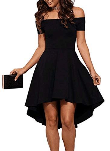Sidefeel Women Off Shoulder Short Sleeve High Low Skater Dress Small Black