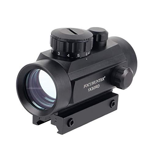 FOCUHUNTER Optics Red/Green Dot Sight 2MOA 1x30mm Fogproof & Shockproof Tactical Illuminated Rifle Scope with Integral Picatinny 20mm Rail Mount