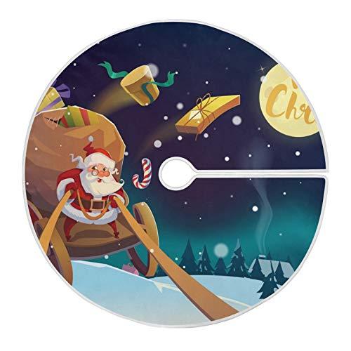XiangHeFu Falda de árbol de Navidad para decoración navideña Festiva 35,4 Pulgadas / 90 cm, Montar a Caballo de Santa