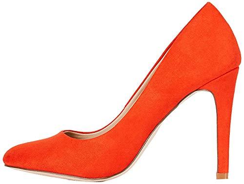 FIND Round Toe High Court Zapatos de Tacón, Rojo (Mandarina Red), 40 EU