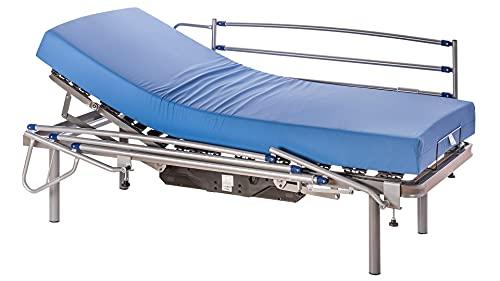 ekamia - Cama Articulada Eléctrica Eris + Colchón Sanitario HR + Barandillas y Patas de 35cm - 90cm x 190cm, Mando con Cable