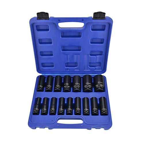 BALLSHOP 16 Stück Kraft Schlagschrauber Nüsse 1/2 Zoll Einsatz Satz 10-32mm