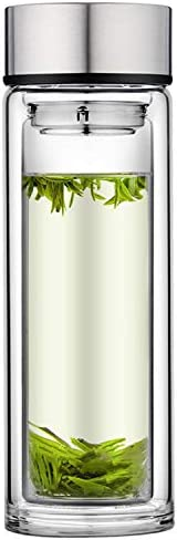 Glass Tea Tumbler Glass Tea Infuser Bottle Double Wall Glass Borosilicate Travel Mug Sealed product image