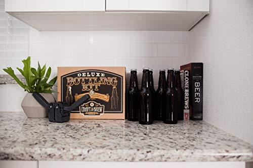 Product Image 3: Deluxe Bottling Kit – Craft a Brew Homebrew Bottler Equipment – Home Brewing Easy Bottling Set – 10 Empty 12oz. Amber Glass Bottles – 30+ Caps – 1 Capper