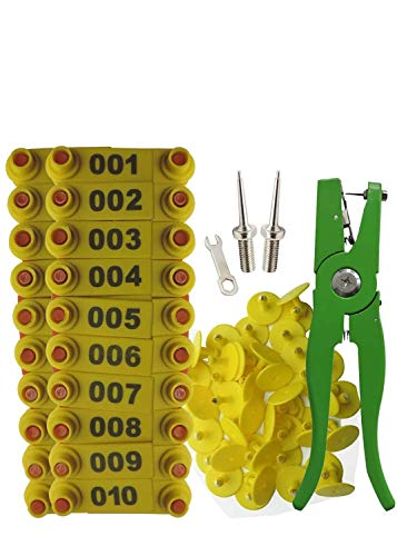 Sheep Ear Tag Plier & 001-100 Numbered Goat Ear Tags(Number Plastic Livestock Ear Tag Animal Tag) & 2Pcs Ear Tag Pins,Yellow or Green