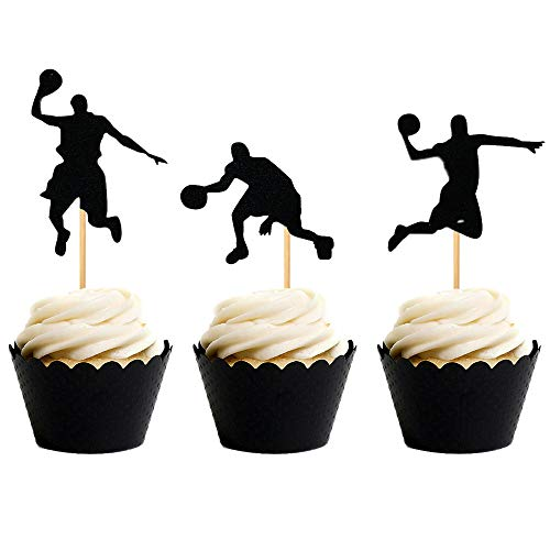 24 PCS JeVenis Basketball Cupcake Topper Basketball Cake Toppers Basketball Player Cupcake Picks Basketball Star Cupcake Decoration for Basketball Theme Party Decorations Supplies