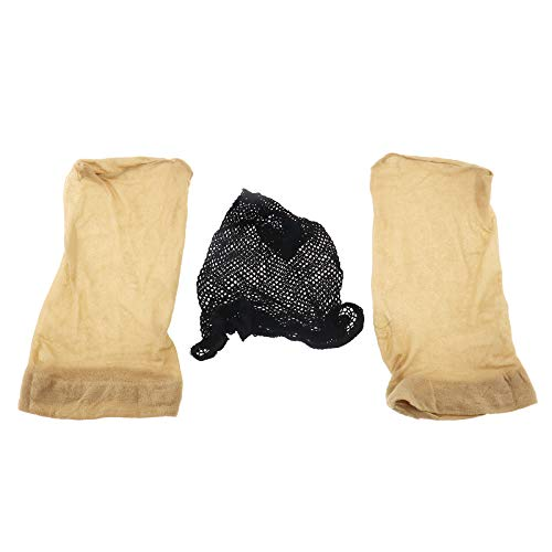 OTOTEC Nylon Pruik Caps voor Vrouwen en Mannen Zwart/Huid Gekleurd Universeel