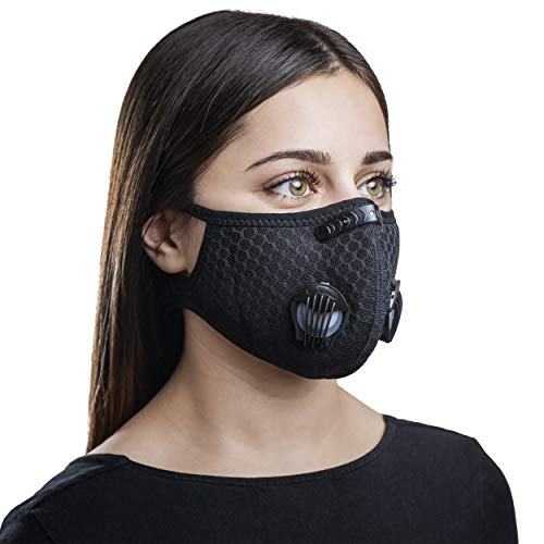 Uccia Reusable Sports Exercise Mask - Face & Mouth Protection with Breathing Valves, 5-Layer Activated Carbon Filter, Velcro Strap & Nose Clip - Adjustable & Washable Workout Cover for Men & Women