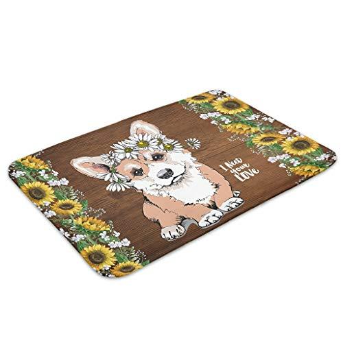 Huffle-Pickffle Felpudo D-og Ani-mal antideslizante – Práctica alfombra de entrada para despacho, habitación de los niños, habitación de bebé, guardería, residencia universitaria, blanco 40 x 60 cm