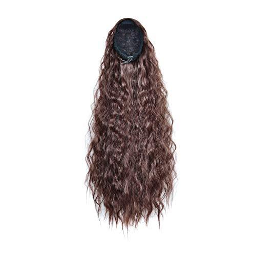 Pelucas sintéticas Larga Wavy Light Wig Pelucas para mujer Pelucas de 22 pulgadas Pelucas de cabello Bolsa de cabello Peluca Panalón Ponillo Largo Onda Profunda Lugar de Ponillo Extensiones Espalda Po