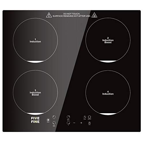 Plaque Induction 4 Foyers, Table de Cuisson à Induction Encastrable 7600 W, Plaque de Cuisson avec Capteur Contrôles Tactiles, 9 Niveaux de Puissance, Verrouillage de Sécurité, Minuterie, Noir