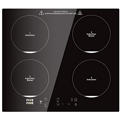 Placa Inducción Cocina de Inducción Integrado Placa Múltiples Niveles de Potencia, 9 Niveles de Temperatura, Temporizador de 99 Minutos, 4 Zonas de Inducción, Control Táctil, Color Negro