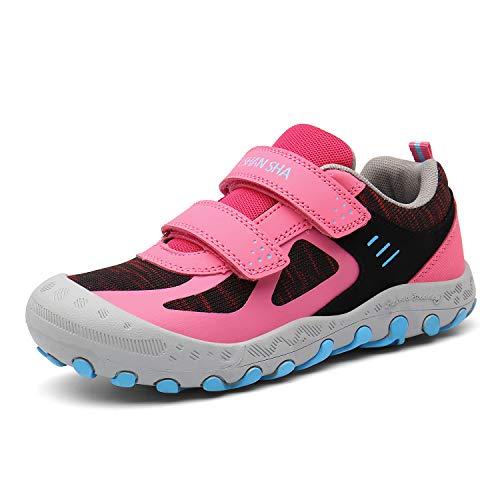 Mishansha Outdoor Hiking Trekking Walking Shoes Mesh Knit Sneakers Youth Casual Lightweight Shoe Rose Little Kid 12.5
