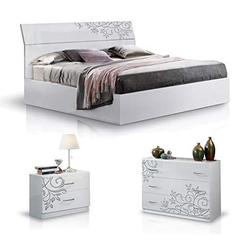 MF Camera da letto completa Matrimoniale Mary con Struttura Letto 160x190-200, 2 comodini e cassettiera, laccata lucida (Bianco Serigrafato)