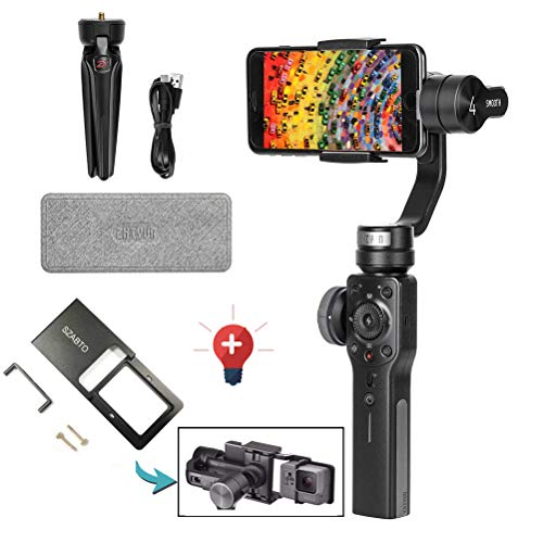 Zhiyun Smooth 4 Gimbal 3 assi Palmare Stabilizzatore with Adattatore per Iphone x 8 7 6plus Samsung Galaxy S8 nota 8 / GoPro Hero 6/5/4/3(with Adattatore)(nero)