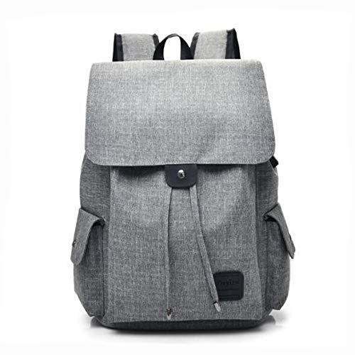 JNXFUZMG Mochila para computadora portátil con carga USB para mujer, informal, de gran capacidad, mochila de viaje, mochila para mujer (color: gris, tamaño: 15 pulgadas)
