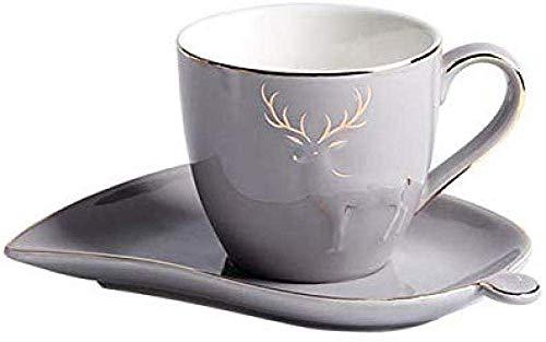 LILICEN Copa de cerámica té Taza de la Leche de Oficina Regalo Taza de té con Leche Taza de café Taza del Desayuno Plato de la casa Gris Establece 150ml