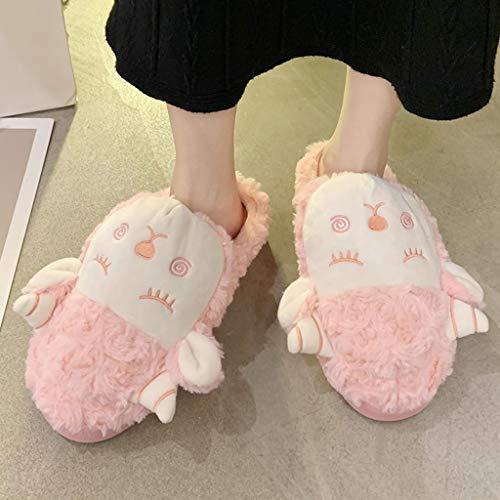 WZHZJ Zapatillas De Invierno De Dibujos Animados Lindo Interior para El Hogar Plataforma De Moda Silenciosos Zapatos Antideslizantes Toboganes Planos Informales (Color : Pink, Size : 43)