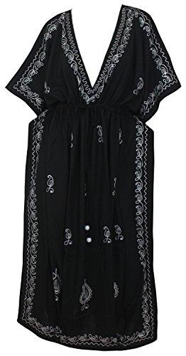 LA LEELA vrouwen dames Rayon Kaftan tuniek geborduurd kimono vrije maat lange maxi party jurk voor loungewear vakantie nachtkleding strand elke dag jurken X