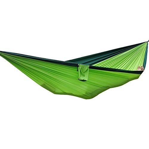 Steellwingsf Portable en Nylon Parachute Hamac Jardin extérieur Camping Plage balançoire Couchage lit Taille Unique Dark Green + Fruit Green