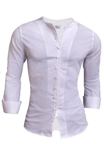 D&R Fashion Quaint Shirt Designers Original UK Sizes Plain White Black Fastening Loops Crew Neck