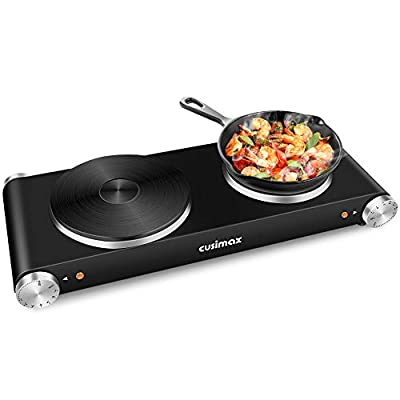Cusimax Hot Plate for Cooking 1800W Portable Electric Double Burner Countertop Cooktop Cast Iron Stove Heating Plate with 7 Power Levels Adjustable Temperature Control & Non-Slip Rubber Feet, Compatible for All Cookwares