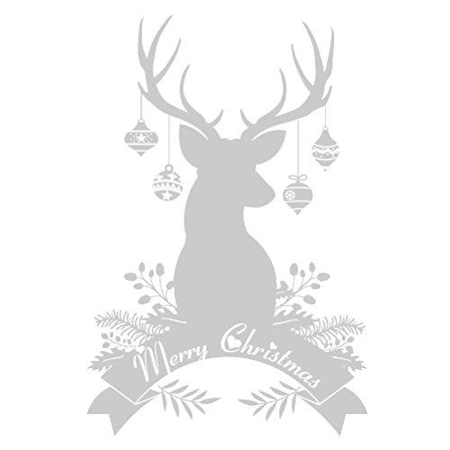 OULII Fensterbilder Weihnachten selbstklebend Rentier Wandaufkleber Merry Christmas Schaufensterdekoration Weihnachtsdeko (Silber)