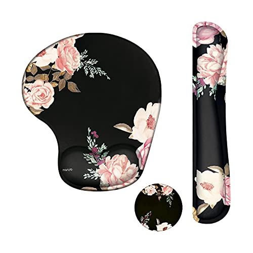 MOSISO Wrist Rest Support for Mouse Pad&Keyboard, Curved Peony Ergonomic Mousepad&Coaster Non-Slip Rubber Base Home/Office Pain Relief&Easy Typing Cushion with Neoprene Cloth&Raised Memory Foam, Black
