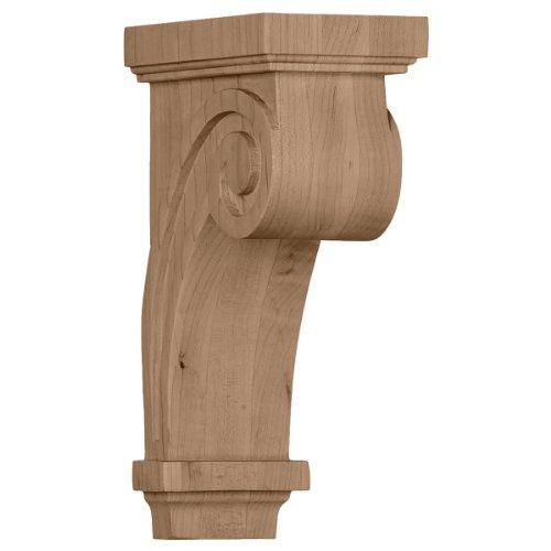 Ekena Millwork COR03X05X09SCRW 3 1/4-Inch W x 5-Inch D x 9-Inch H Scroll Corbel, Rubberwood