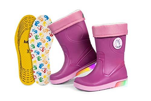 Kinder-Regenstiefel | Gummistiefel mit herausnehmbarem Warmfutter | Extra Kaps Einlegesohle | Blinkeffekt in der Sohle | Reflektierende Details von 3M Scotchlite | Made in Italy (22/23 - Violett)