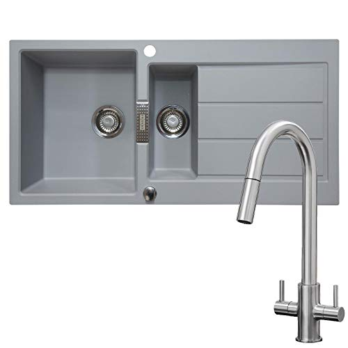 Franke 1.5 Bowl Stone Grey Composite Kitchen Sink & Brushed Pull-Out Spray Tap