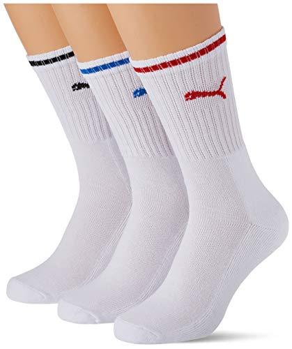 PUMA Sport Crew Stripe Socks (3 Pack) Calcetines, White, 47/49 Unisex Adulto