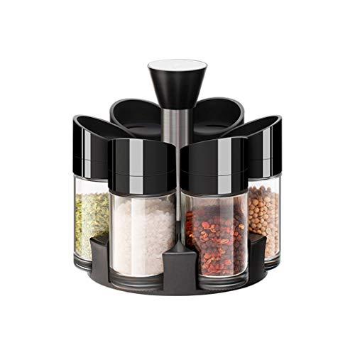 Great Deal! Spice Bottles, Vertical Glass Cruet, Rotary Condiment Jar, Kitchen Condiment Box (color ...
