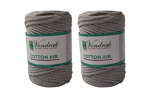 Cotton Air Yarn 178 Yards (2 Rolls) of Chunky Cotton Yarn for Crocheting or Knitting Home Decor Projects or Beginners Learning to Crochet (Gray)