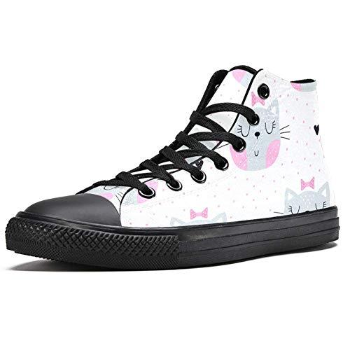 TIZORAX DEYYA - Zapatillas altas para hombre, gatos, con lazo rosa en lunares, con estampado de lunares, zapatos de lona, zapatos casuales para caminar