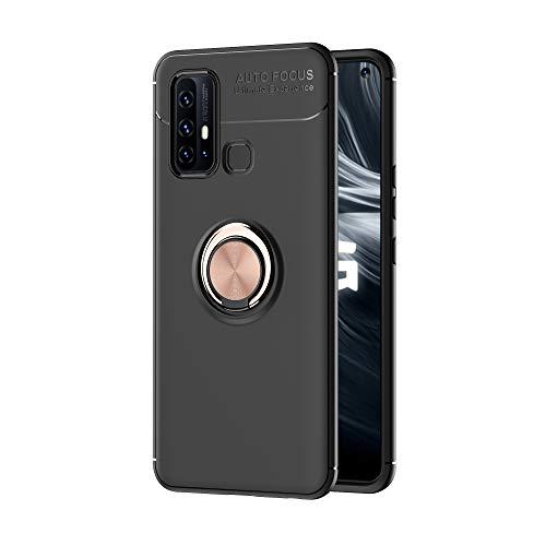 zl one Compatible con/reemplazo para la funda del teléfono Vivo Z6 5G Metal Ring Back Cover Ultra-Thin TPU Bumper (Cubierta negra Anillo Rosa)