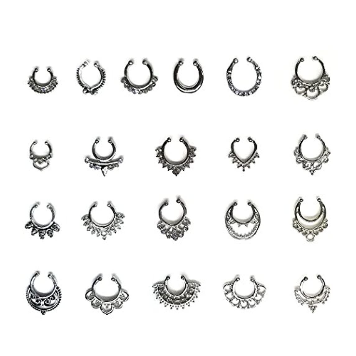 Aoyoho 21Pcs Fake Septum Clicker Nose Ring Rhinestone Non Piercing Hanger Clip Body Jewelry (Silver)
