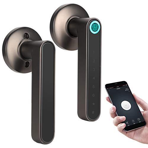 Cerradura de Seguridad Inalámbrico Inteligente Bluetooth Puerta Manija Cerradura Biométrica Huella Digital Contraseña AplicaciÓn Palanca de Entrada Sin Llave Para El Hogar (Black)