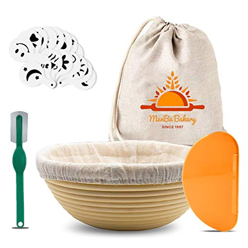 9 Inch Round Banneton Bread Proofing Basket Set for Sourdough - Large Handmade Rising Rattan Bowl Brotform - Includes Linen Liner Cover, Scoring Lame, Dough Scrapper, 16 Pcs Stencils and Cloth Bag - Gift For Bread Making Starter Box