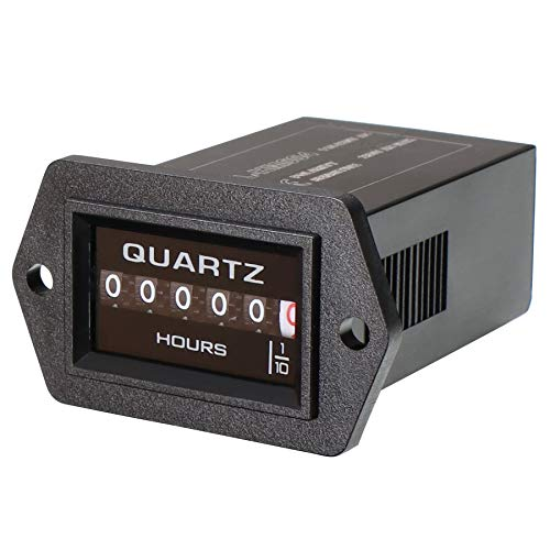 Searon Quartz Hour Meter 8~80V AC/DC Great for Generator Boats Automobiles ATV UTV Go Carts Jet Ski Snowmobile Lawn Tractors Wood Chippers Shredders Pumps and Many More