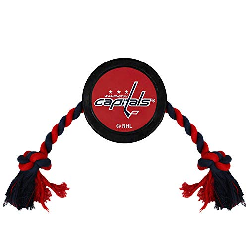 Pets First Dog Rubber Toy Tough Rubber with Heavy-Duty Dog Rope Tug Toy. NHL Washington Capitals Puck Toy for Dogs & Cats. Play Hockey with Your Pet with This Licensed Dog Puck Rubber Cool Toy!
