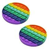 AMERISSENTIALS Rainbow Sensory Circle Pop-It Fidget Toy 2-Pack | Circle Sensory Toys | Bubble Popping Sensory Toy | Stimulating Fidget Pop It Pack - Fun for All Ages
