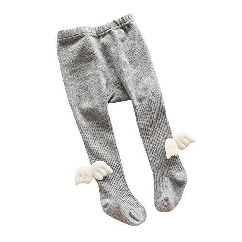 WSLCN kinder Strumpfhosen für Baby Mädchen Jungen Baumwolle Weich Warm Angel Hell Grau 6-12 Monate