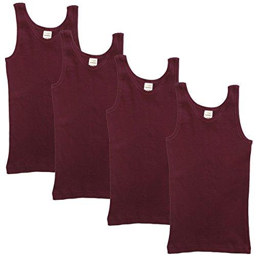 HERMKO 2000 4er Pack Mädchen Unterhemd aus 100{d7b28645a9a8b9bae79cf9cef9f407524839e2923c21e1d00e524ef52f974f01} Bio-Baumwolle, Tank Top, Farbe:Bordeaux, Größe:176