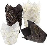 Kissral 100pcs moldes magdalenas papel magdalenas papel de muffin papel de hornear a prueba de aceite molde cupcakes vasos de papel para un pan pastel cocina pastelería, blanco marrón