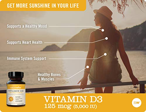 Health Shopping NatureWise Vitamin D3 5000iu (125 mcg) Gluten Free in Cold-Pressed Organic Olive