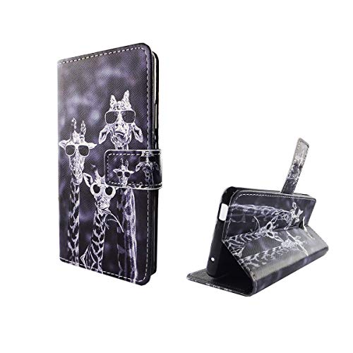König Design Handyhülle Kompatibel mit ZTE Blade L3 Handytasche Schutzhülle Tasche Flip Hülle mit Kreditkartenfächern - Lustige Giraffen