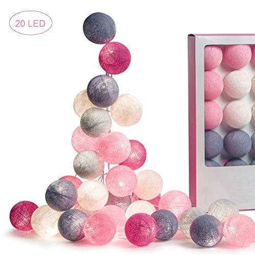 Jackallo - Guirnalda de luces LED para bodas, fiestas de Navidad, dormitorios, decoración de guirnaldas al aire libre, color rosa, blanco y gris, - -, b, 3m 20Lichter