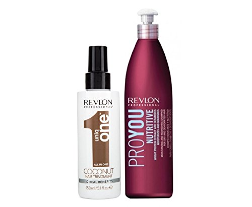 Revlon Uniq One Coconut - Tratamiento capilar, 150 ml + Revlon Profesional - Pro You Nutritive - Champú nutritivo 350 ml